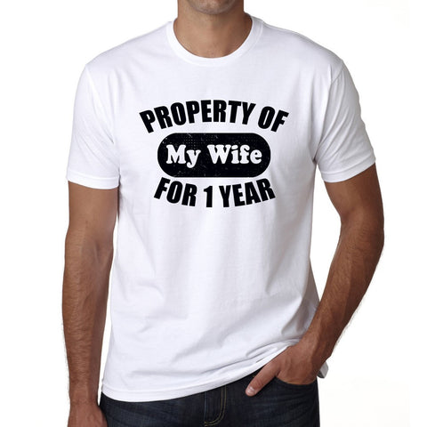 Property of My Wife for 1 Year, Wedding Anniversary Tshirt Men's T-Shirts, Short Sleeve Rounded Neck T-shirt