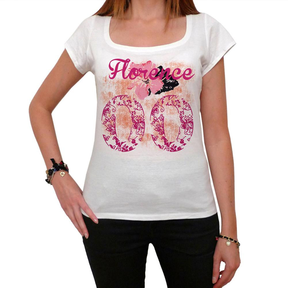 00, Florence, City With Number, Women's Short Sleeve Rounded White T-shirt