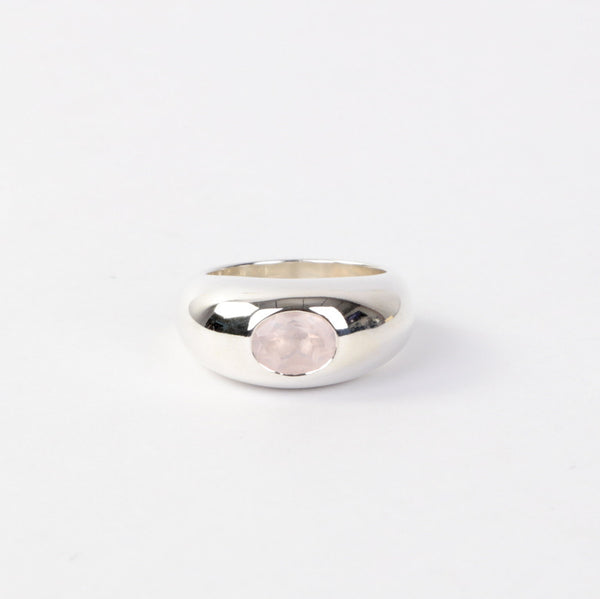 The Rose Quartz Gypsy Dome Ring