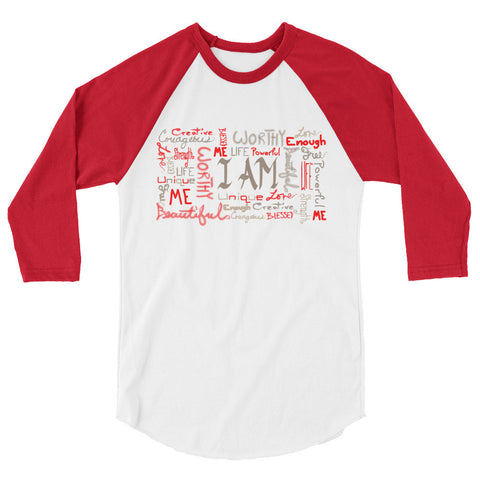 I AM 3/4 sleeve raglan shirt