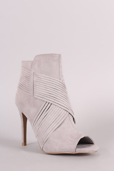 Suede Crisscross Ankle Booties