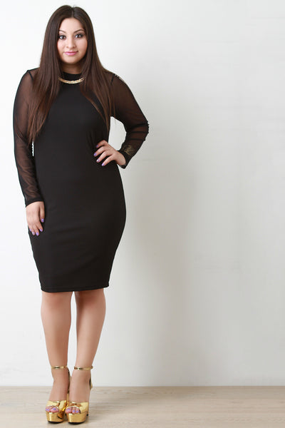 Contrast Mesh Long Sleeve Necklace Midi Dress