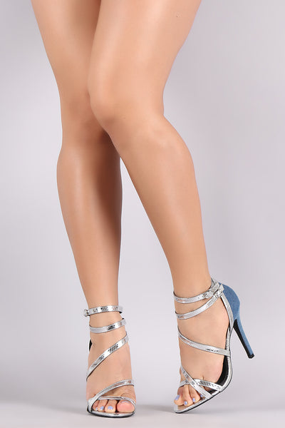Two Tone Denim Strappy Crisscross Heel