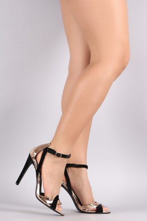Two Tone Velvet Ankle Strap Stiletto Heel