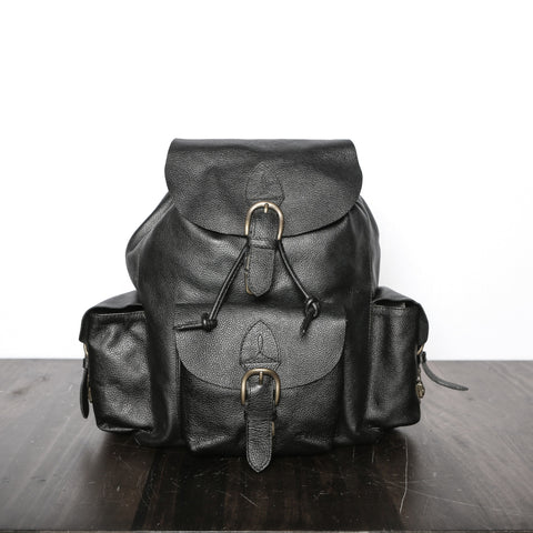 Black Leather Backpack for Men - Premium Recycled leather
