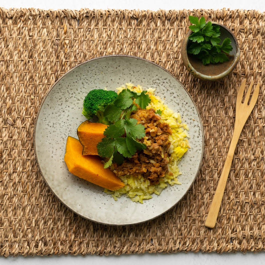 A mild beef and red lentil curry served on a bed of saffron infused rice and a side of seasonal veg.