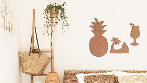 tropical beach and pineapple cork board set