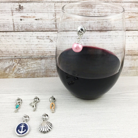6 Magnetic Beach Wine Charms