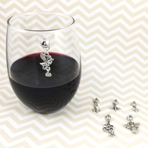 6 Magnetic Bee Wine Charms