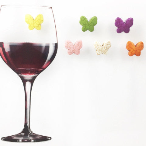 6 Magnetic Butterfly Wine Charms