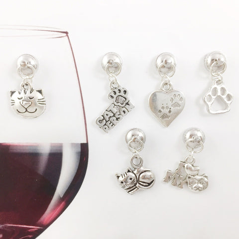 6 Magnetic Cat Lover Wine Charms