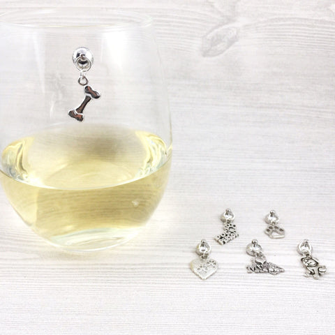6 Magnetic Dog Lover Wine Charms