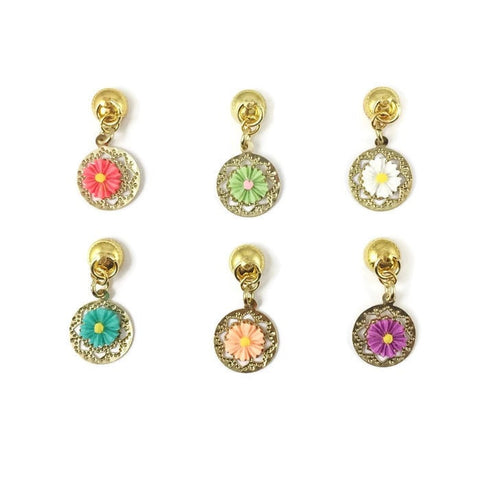 6 Magnetic Flower Wine Charms With Gold Base