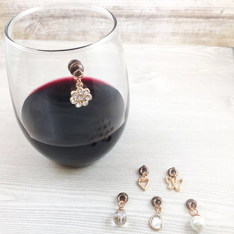6 Magnetic Gold Wine Charms