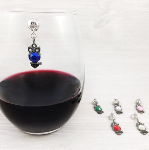 6 Magnetic Owl Wine Charms