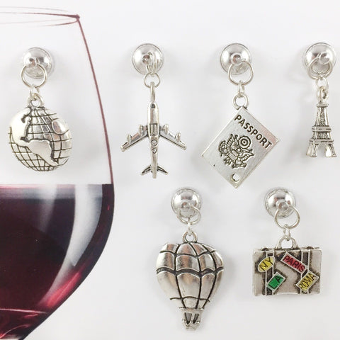 6 Magnetic Travel Wine Charms