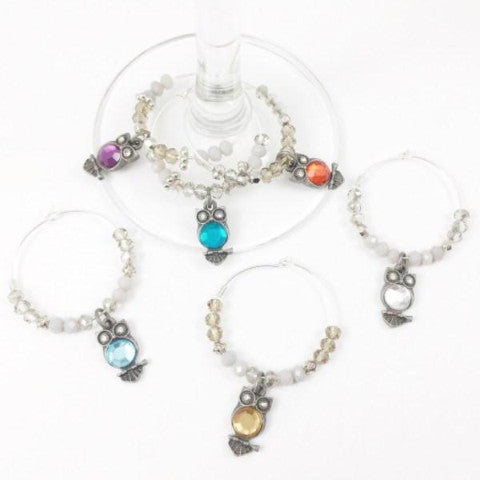 6 Owl Wine Charms