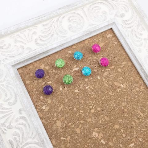 8 Bright Glitter Thumbtacks
