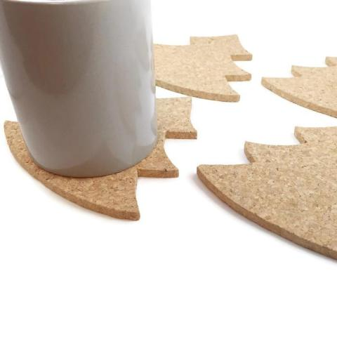 Christmas Tree Cork Coasters - Set of 4