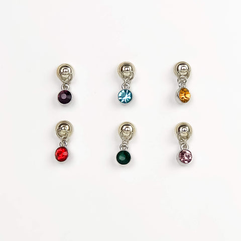 Silver & Gem Magnetic Wine Charms - Set of 6