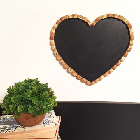 Heart Shaped Chalkboard With Wine Cork Frame