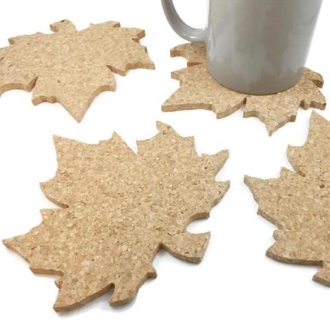 Maple Leaf Cork Coasters - Set of 4