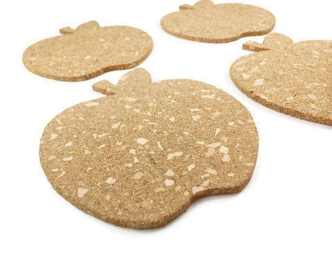 Apple Cork Coasters - Set of 4