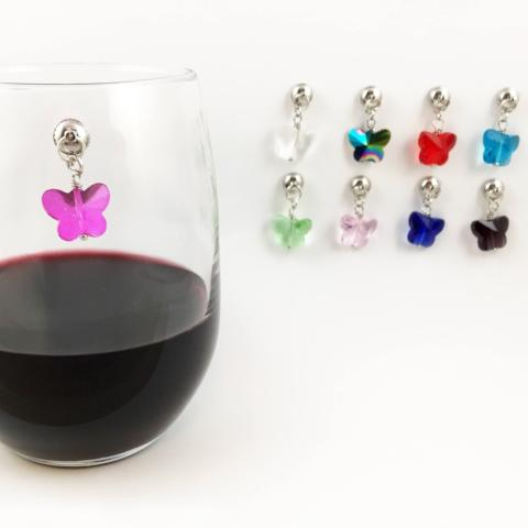 9 Color Magnetic Butterfly Wine Charms