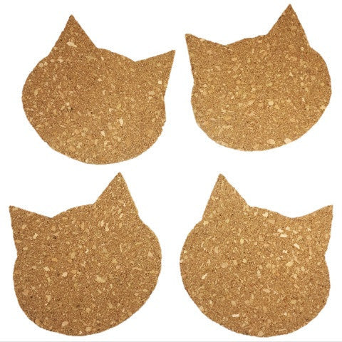 Cat Face Cork Coasters - Set of 4