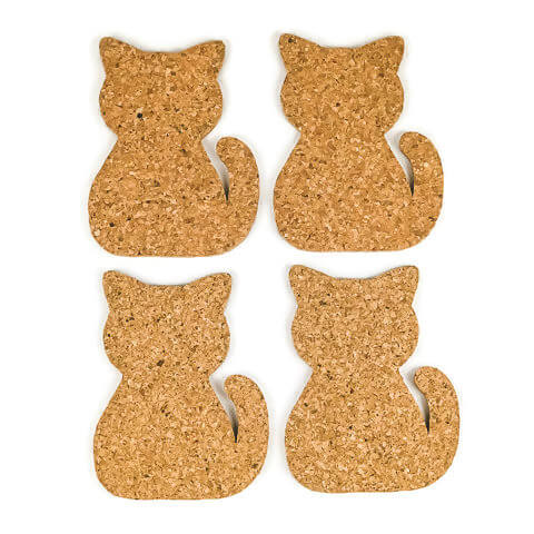 Cat Cork Coasters - Set of 4