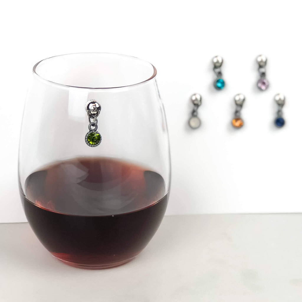 Colorful Gem Magnetic Wine Charms - Set of 6