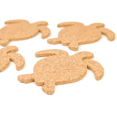 Sea Turtle Cork Coasters - Set of 4