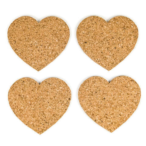 Heart Cork Coasters - Set of 4