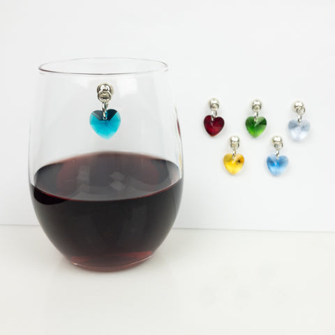 Heart Magnetic Wine Charms - Set of 6