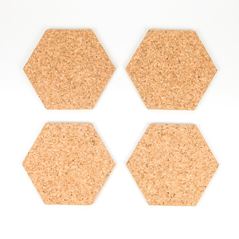 Hexagon Cork Coasters - Set of 4