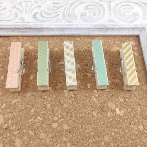 Mini Pastel Clothespin Push Pins