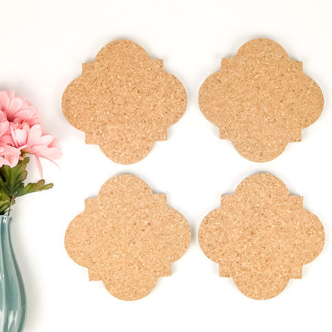 Mini Quatrefoil Cork Boards - Set of 4