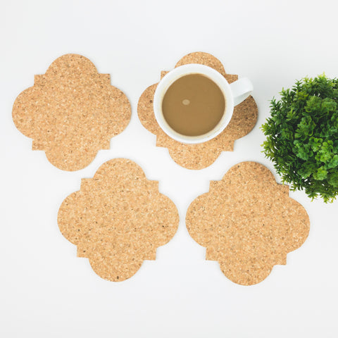 Large Quatrefoil Cork Coasters - Set of 4