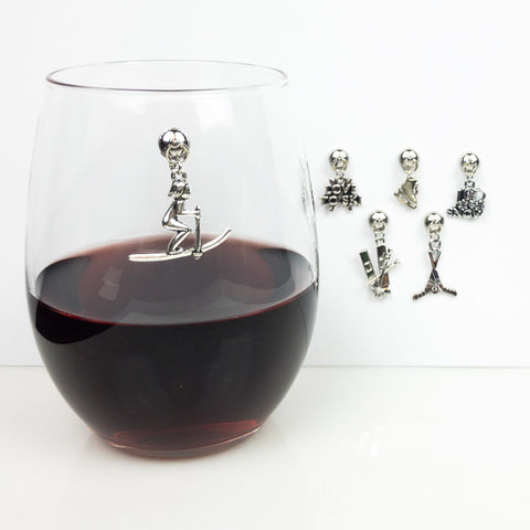 Magnetic Winter Sports Wine Charms - Set of 6
