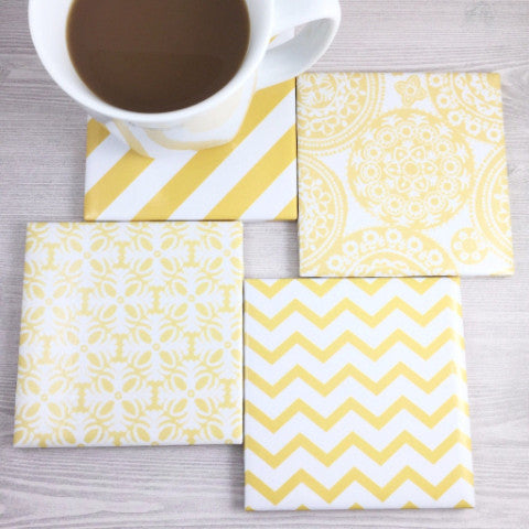 Yellow and White Coasters - Set of 4