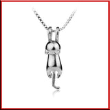 Hanging Cat Necklace in .925 Sterling Silver - LUX DIRECT