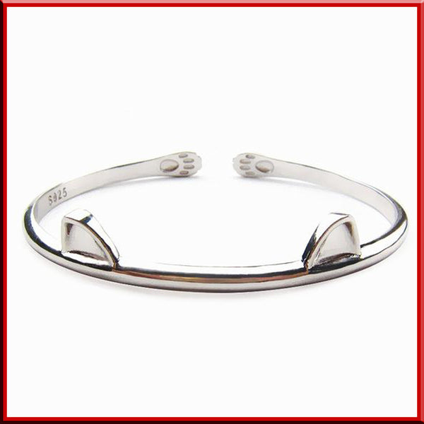 Cat Bracelet Cuff in Real Sterling Silver - LUX DIRECT