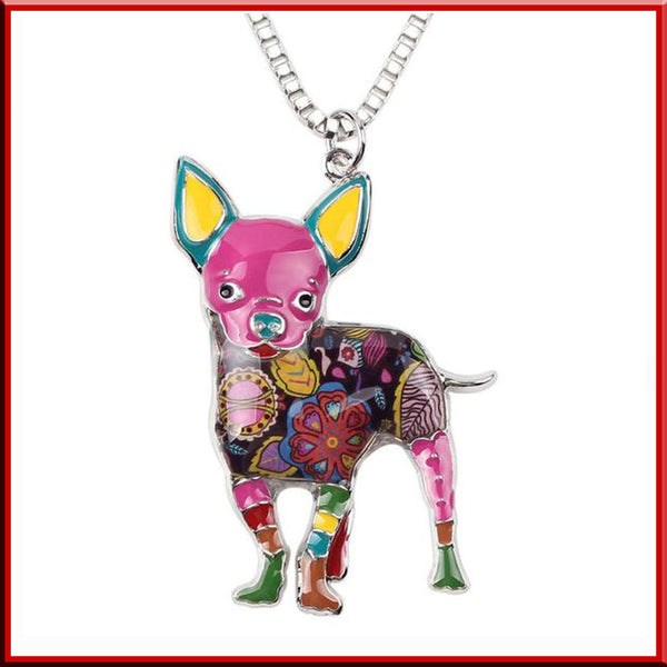 Chihuahua Dog Necklace in Colorful Enamel Design - LUX DIRECT