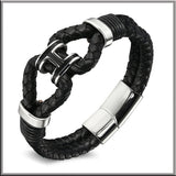 Braided Leather Bracelet for Men H Design - LUX DIRECT