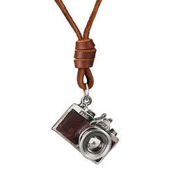 Vintage Camera Pendant with Genuine Leather Rope Necklace - LUX DIRECT