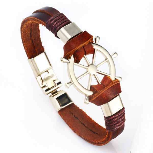 New Men Wrist Design Genuine Cow Leather Bracelet Helm Metal Wheel. - LUX DIRECT