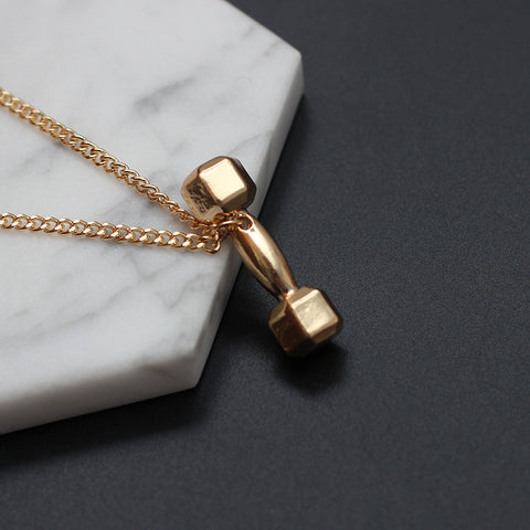 Dumbbell Pendant Gym Necklace - LUX DIRECT