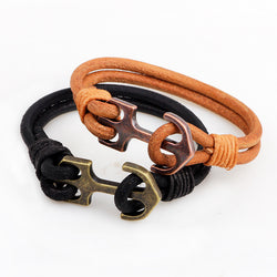 Vintage Bracelet Black or brown Cowhide Leather with Anchor Charm. - LUX DIRECT