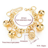 Gold Plated Bracelet Pandora Style with Hollow Ball and Crystal Charms. - LUX DIRECT