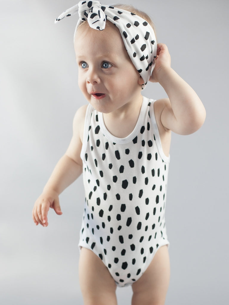 Black Dalmatian Singlet Bodysuit Headband Kit & Cradle